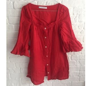 Tops - Stylish linen red long top